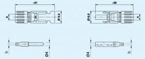 konektory MC4 rysunek techniczny